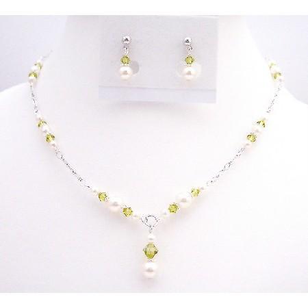 Lite Olivine Swarovski Crystals w/ White Pearls Handmade Necklace Set