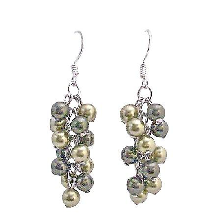 Olive Green Pearls Jewelry Lite & Dark Swarovski Green Pearls Earrings
