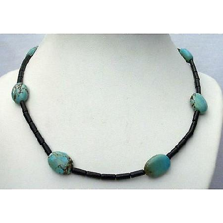 Custom Jewelry Onyx Tube Beads Flat Autumn Turquoise Bead Necklace