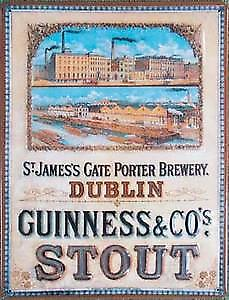 Guinness Dublin Brewery Embossed Metal Sign (large)