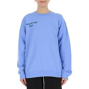 Semi-couture Silvia Light Blue Cotton Sweatshirt