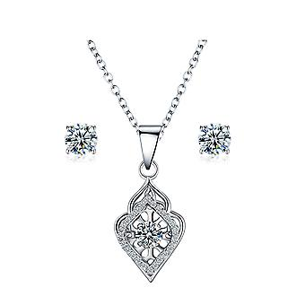 925 Sterling Silver Dancing Pendant Necklace & Studs Set - Style 2