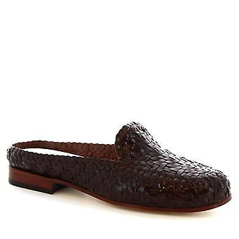 Leonardo skor handgjorda mulor damskor i mörkbrun vävt kalvläder