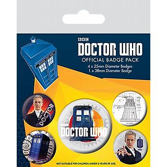 Doctor Who 12th Doctor 5 round Pin Badges in Pack (py)