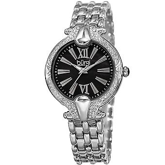Burgi Women's BUR163  Swarovski Crystal Bezel Mother of Pearl Bracelet Watch BUR163SSBK