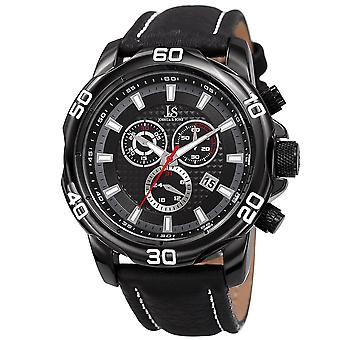 Joshua & Sons Chronograph Men's JX109BK Watch – Leather Band with Big Rounded Stainless Steel Face - Multifunction Date