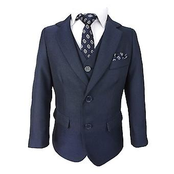 Boys Tailored Fit All in One Dark Blue Suit