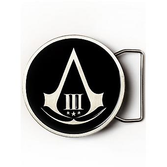Assassins Creed Black III Round Belt Buckle