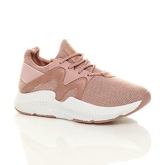 Ajvani womens chunky sole lace up glitter mesh gym trainer sneakers
