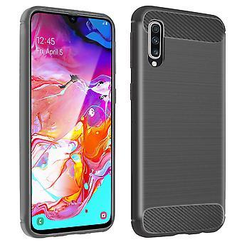 Fibra de carbono caso escudo para Samsung Galaxy A70-cinza