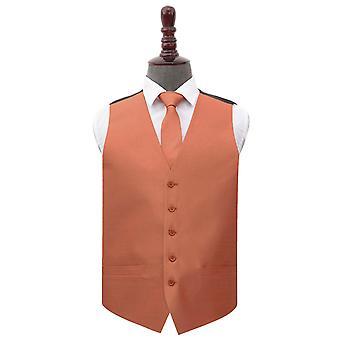 Kobber shantung bryllup veste & slips sæt