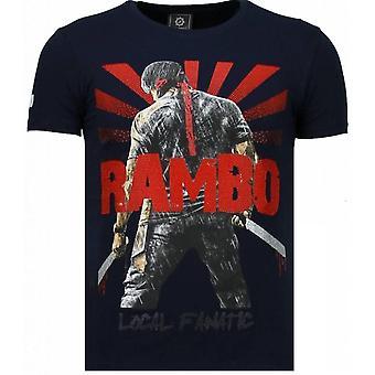 Rambo Shine-Rhinestone T-shirt-Navy