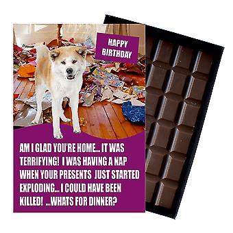 Akita Inu lustige Geburtstagsgeschenke für Hund Liebhaber Boxed Schokolade Grußkarte vorhanden