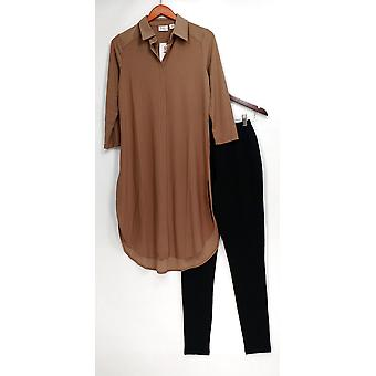 Women with Control Set Tunic & Pintuck Leggings Beige A273193