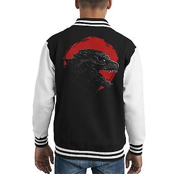 Godzilla Circle Sunset Kid's Varsity Jacket