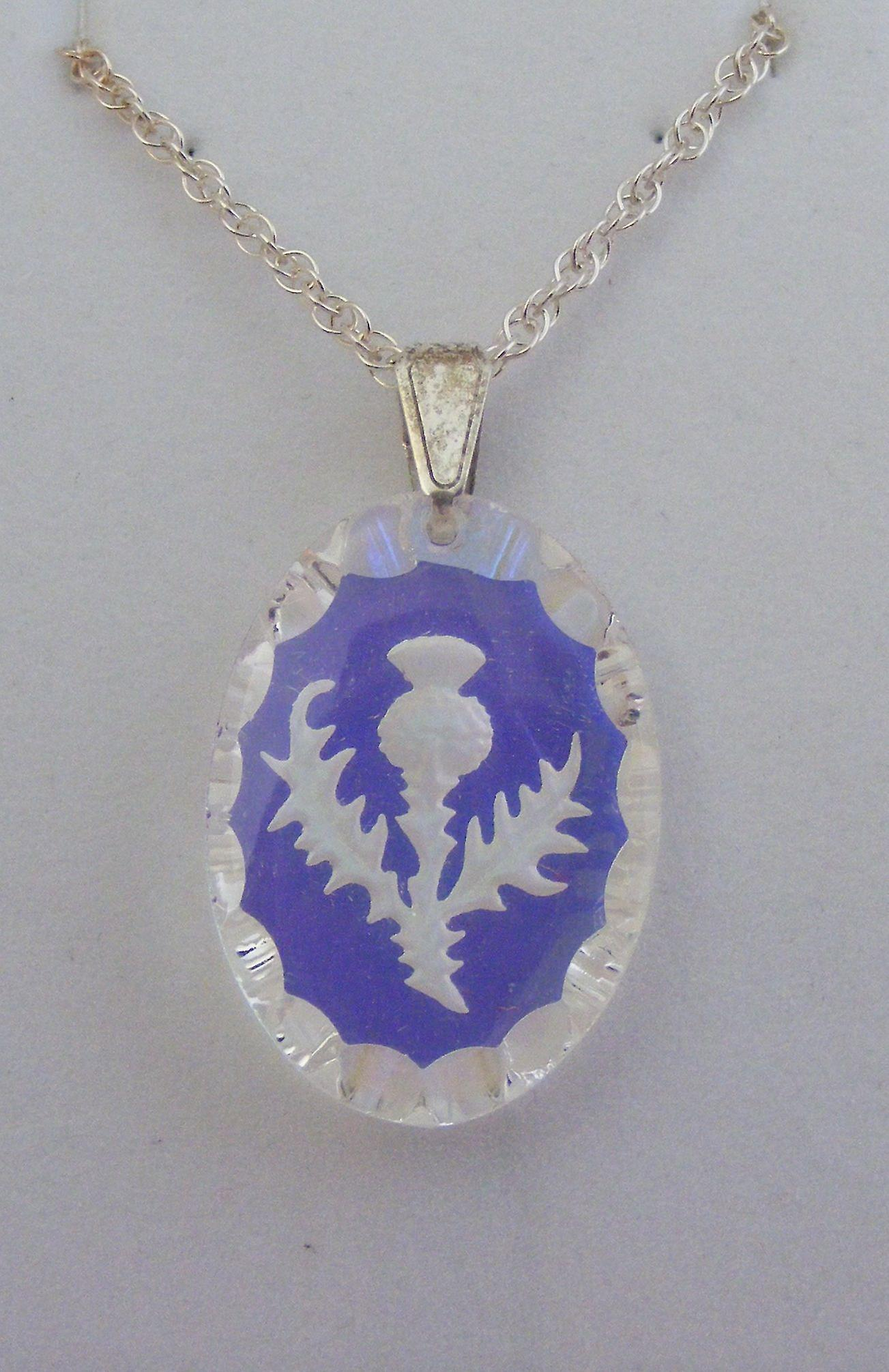 Aurora Borealis Medium Oval Thistle Crystal Pendant