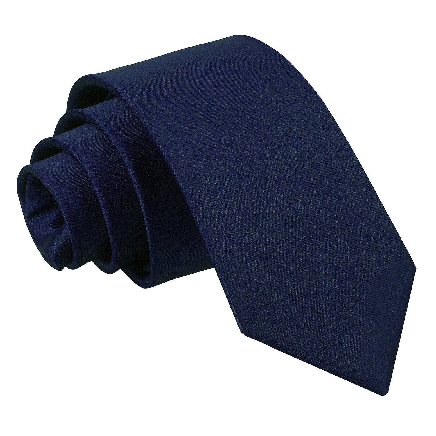 Boy's Plain Navy Blue Satin Tie  (8+ years)