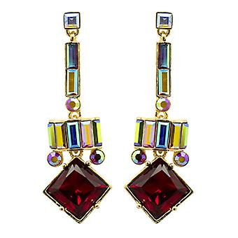 Butler  and  Wilson Vintage Square Shape Drop Art Deco Earrings  Red