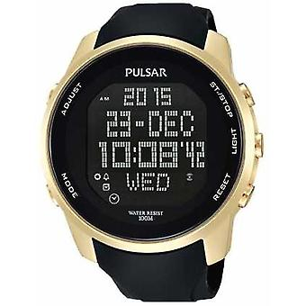 Pulsar Mens Digital Gold Plated Case Black Rubber PQ2048X1 Watch