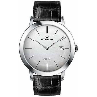 Eterna Mens Quartz Silver Brushed Dial Black Leather Strap 2710.41.10.1383 Watch