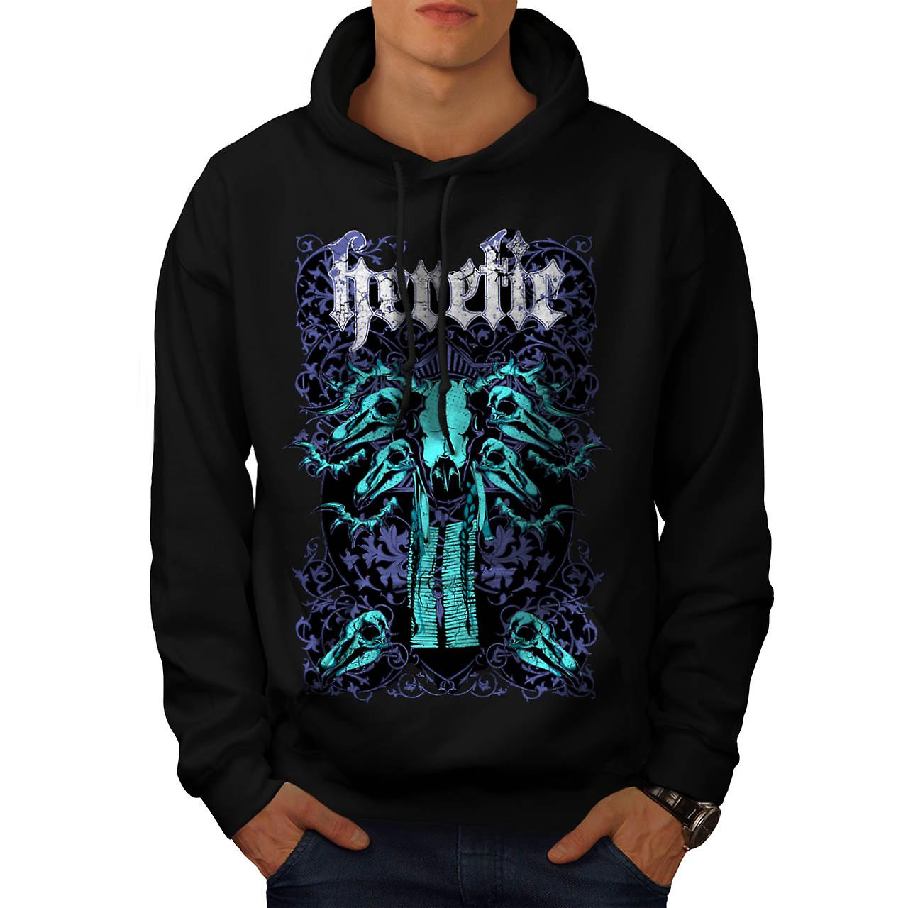 Heretic Monster Hell Giant Skull Men Black Hoodie | Wellcoda