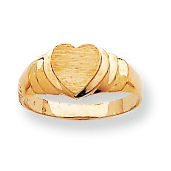14k Yellow Gold Solid Satin Polished Engravable Heart Signet Ring - 2.2 Grams - Size 6