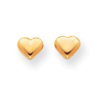 14k Yellow Gold Small Puffed Heart Earrings - .3 Grams - Measures 5x6mm