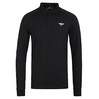 Creative Recreation Tone Long Sleeve Black Polo Shirt