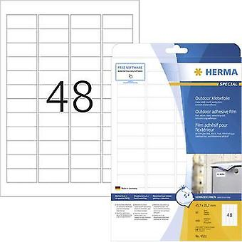 Herma 9531 Labels (A4) 45.7 x 21.2 mm PE film White 480 pc(s) Permanent All-purpose labels, Weatherproof labels Laser, C