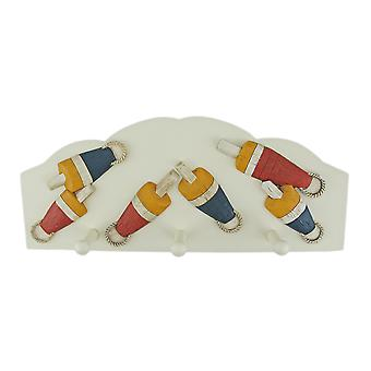 3 Hook Nautical Float Theme Wall Mounted Clothes Rack