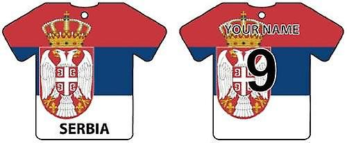 Personalised Serbia Flag Jersey Car Air Freshener