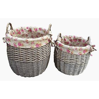 Antique Wash Lined Linen Bin Set 2 With Garden Rose Lining