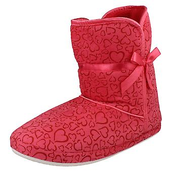 Ladies Spot On Heart Pattern Boot Slippers X2018