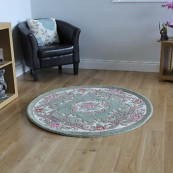 Green Traditional Round Wool Rug Imperial