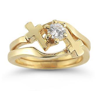 Diamant tværs vielsesring brude sæt i 14K gul guld
