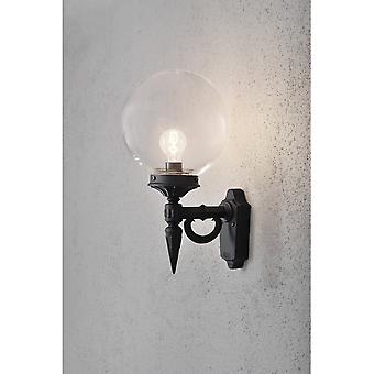Konstsmide Orion Outside Black Wall Light With Bola Glass