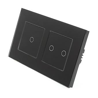 I LumoS Black Glass Double Frame 3 Gang 1 Way Touch Dimmer LED Light Switch Black Insert