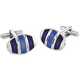 Duncan Walton Kinver Rhodium Plated Oval Cufflinks - Blue