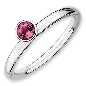Sterling zilveren stapelbare expressies hoge 4 mm ronde roze Tourm. Ring - Ringmaat: 5 tot 10