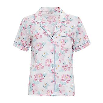 Cyberjammies 3315 Women's Olivia Pink and Sage Green Floral Print Cotton and Modal Pajama Sleepwear PJs Pyjama Top
