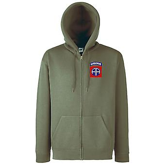US Army 82nd Airborne Division Embroidered Logo - Zipped Hoodie Jacket