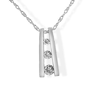 1/10ct Diamond Three Stone Pendant 14K White Gold