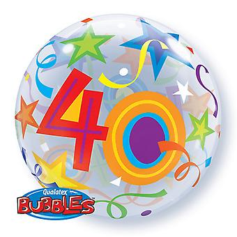 Qualatex 22 Inch Single Age 40 Star Pattern Birthday Bubble Balloon