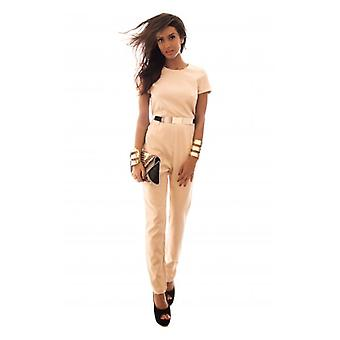 The Fashion Bible Beige Belted Jumpsuit