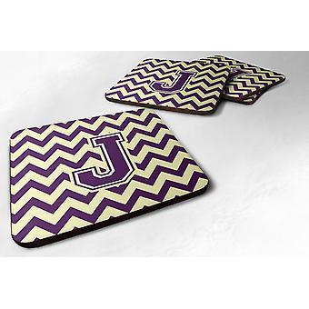 Set of 4 Letter J Chevron Purple and Gold Foam Coasters Set of 4