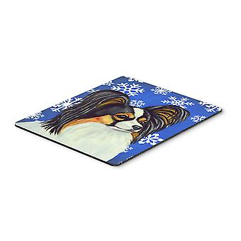 Papillon Winter Snowflakes Holiday Mouse Pad, Hot Pad or Trivet