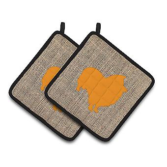 Sheltie Faux Burlap and Orange   Pair of Pot Holders