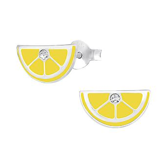 Lemon - 925 Sterling Silver Crystal Ear Studs - W34647x