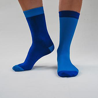 Pure blue - colourful, bright blue, comfortable cotton unisex odd socks by bsilysocks