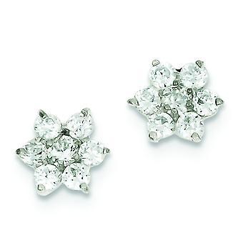 Sterling sølv Solid poleret indlæg øreringe Floral Cubic Zirconia øreringe